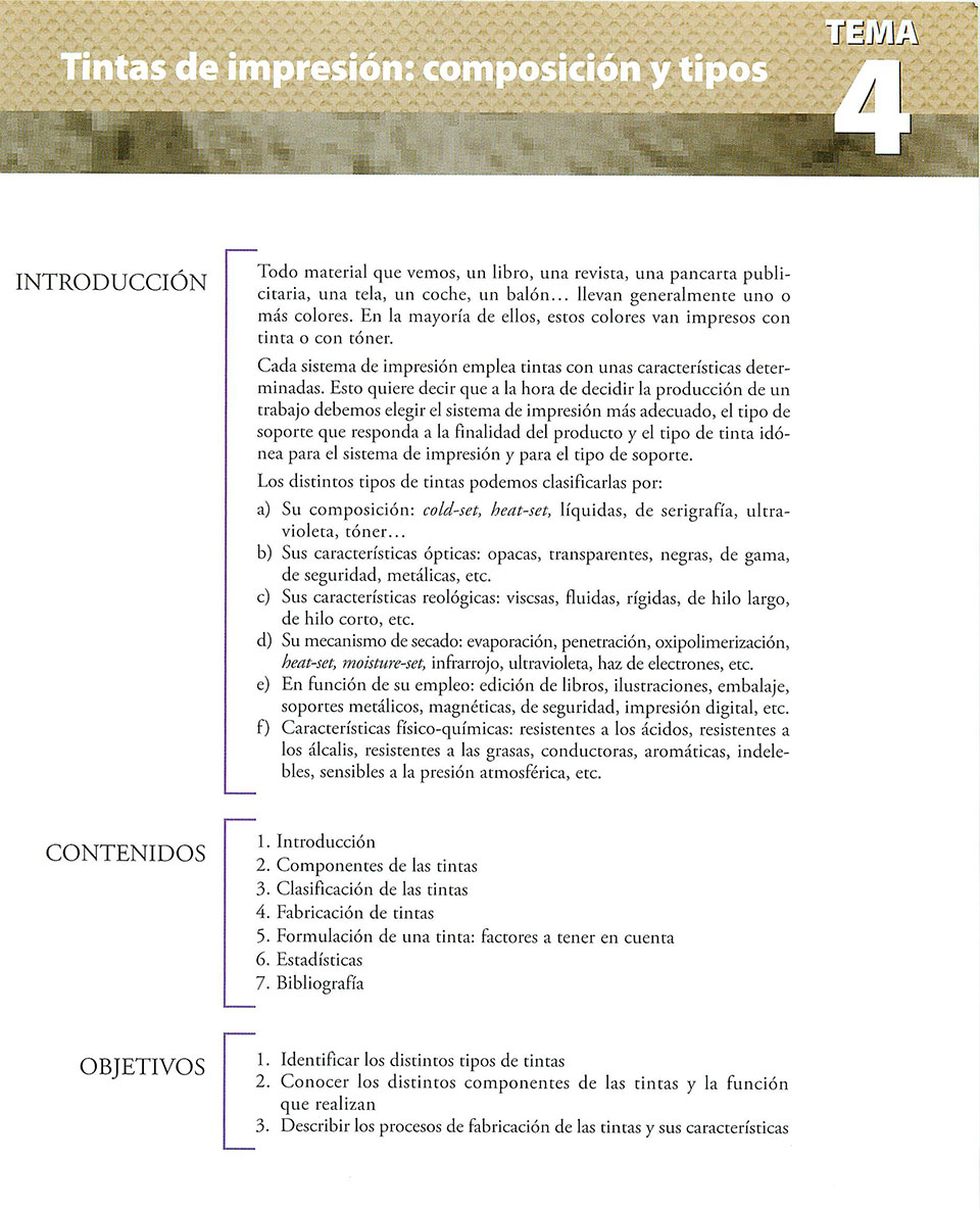 Materiales de producción en artes gráficas, capítulo 4