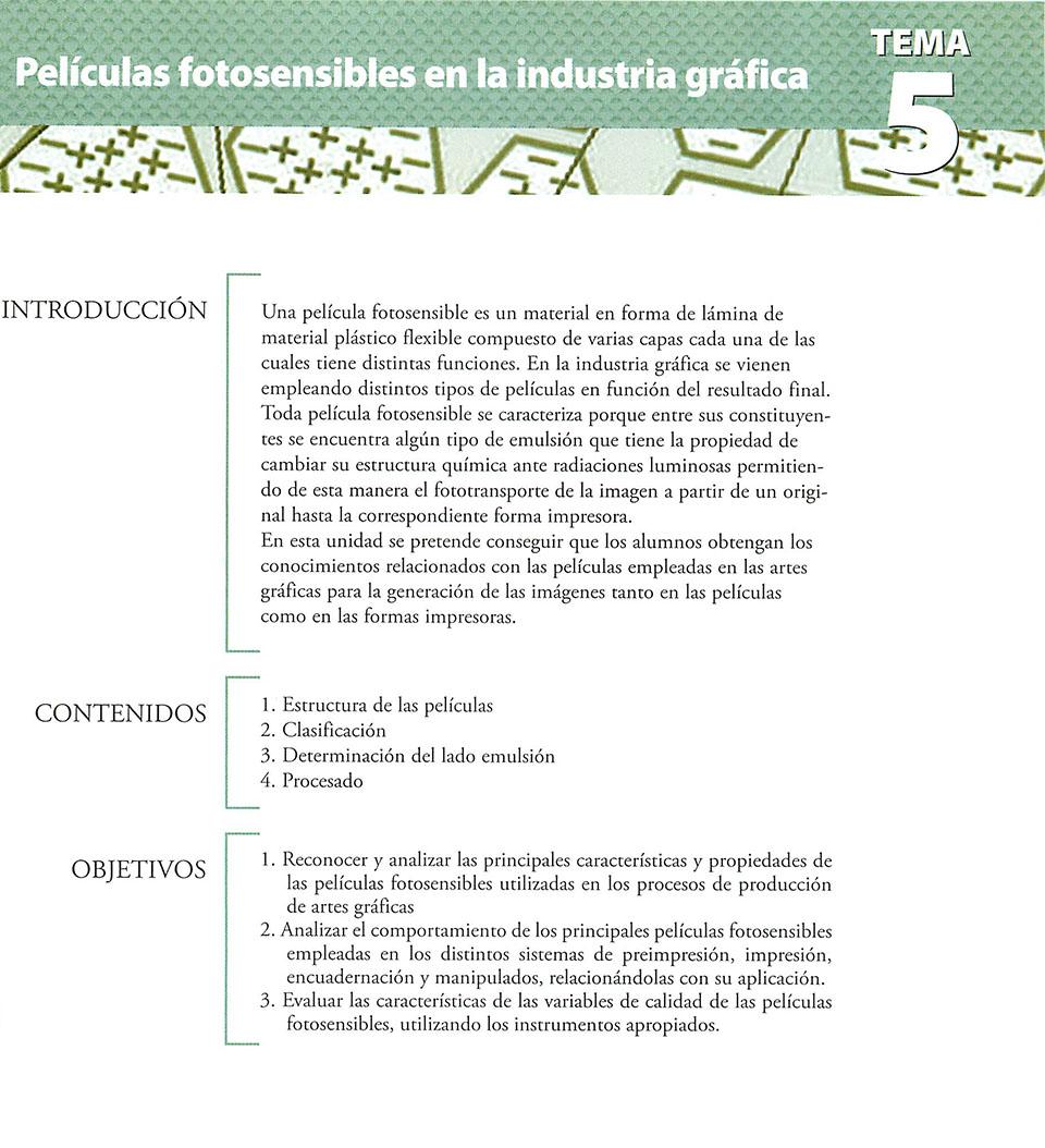 Materiales de producción en artes gráficas, capítulo 5