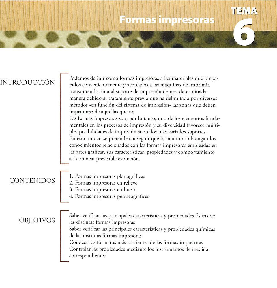 Materiales de producción en artes gráficas, capítulo 6
