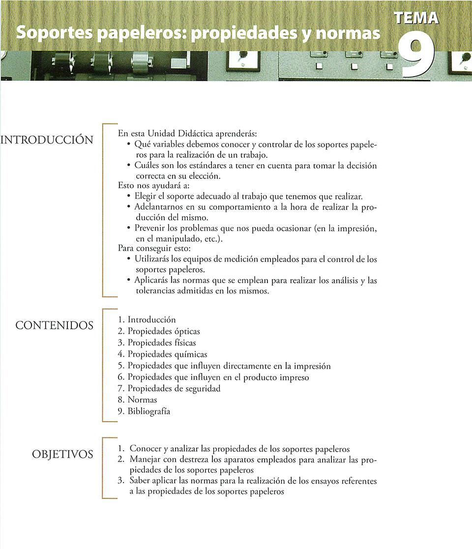 Materiales de producción en artes gráficas, capítulo 9