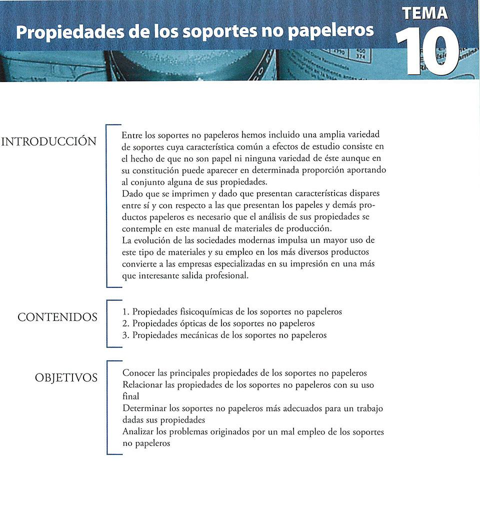 Materiales de producción en artes gráficas, capítulo 10