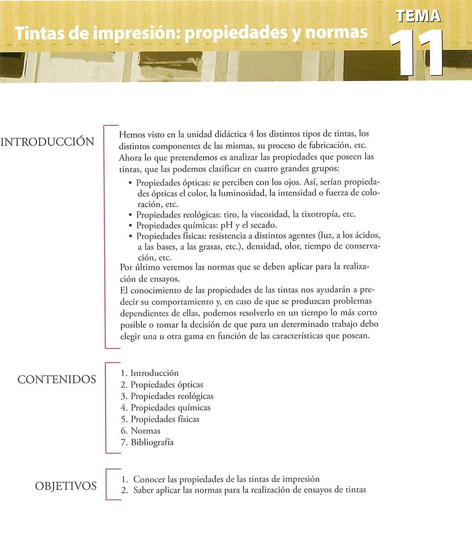 Materiales de producción en artes gráficas, capítulo 11