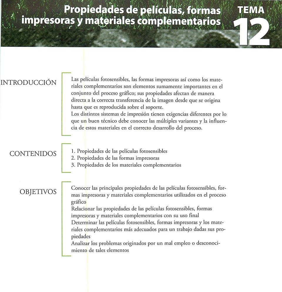 Materiales de producción en artes gráficas, capítulo 12
