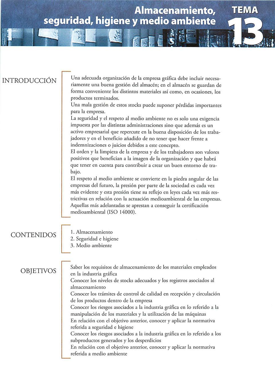 Materiales de producción en artes gráficas, capítulo 13