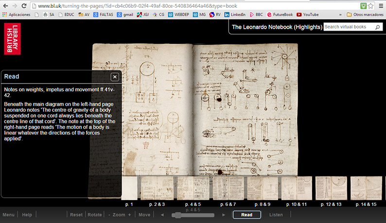 turning the pages, british library, libro electrónico, leonardo notebook