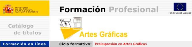 curso preimpresión online, ministerio de educación, artes gráficas, cnice