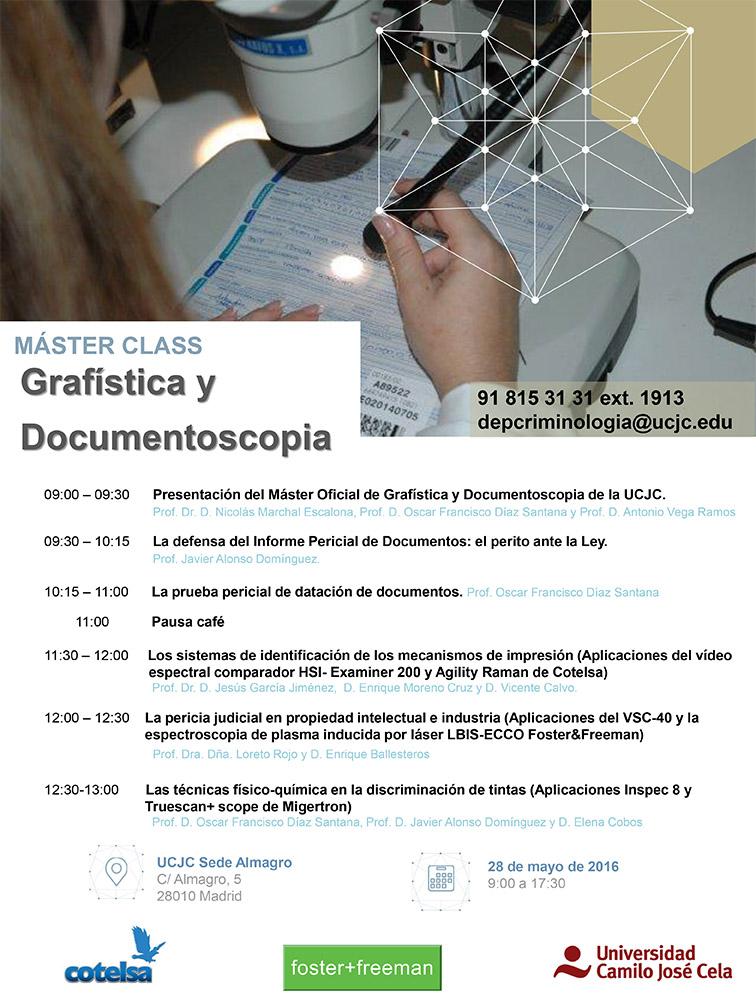 Máster Grafística y Documentoscopia; másterclass Documentoscoopia, Documentoscopia, Artes Gráficas