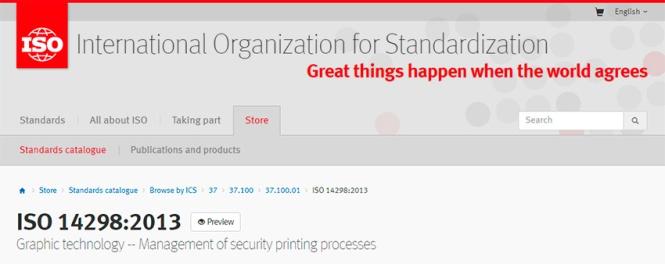 iso 14298, Management of security printing processes; gestión de procesos de impresión de seguridad, jesús garcía jiménez, artes gráficas