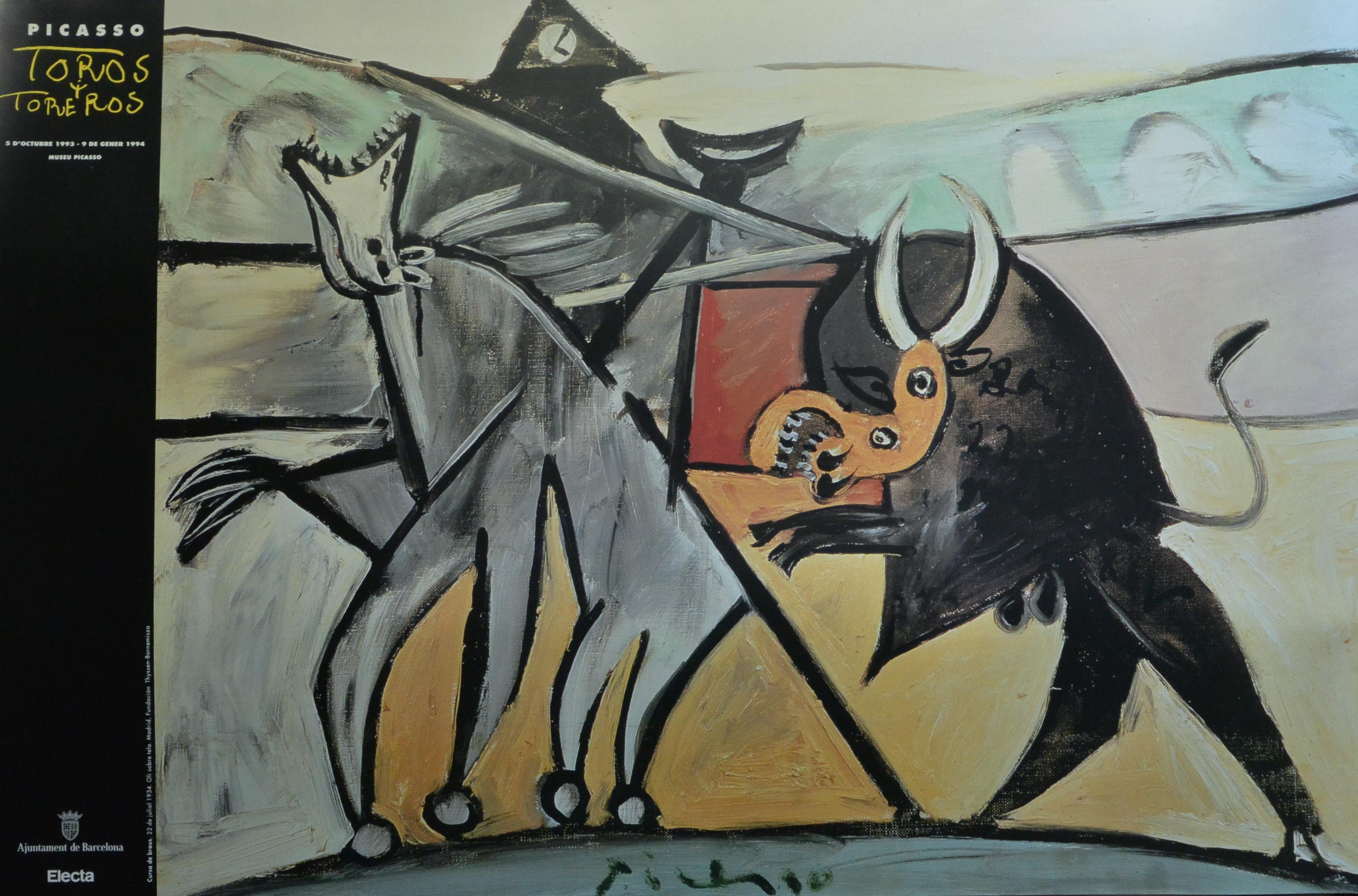 Picasso-Pablo-cartel-original-exposición-Toros-y-Toreros-en-el-Museu-Picasso-Barcelona-en-1.993