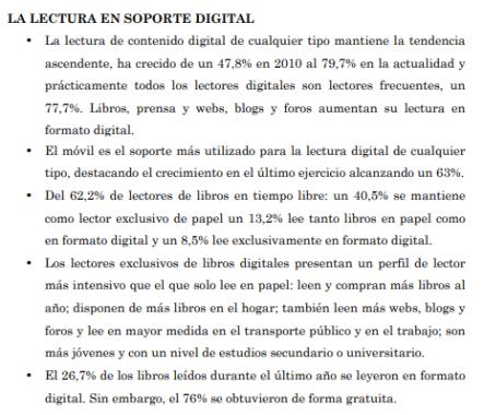 Lectura en soporte digital; edición digital; informe lectura