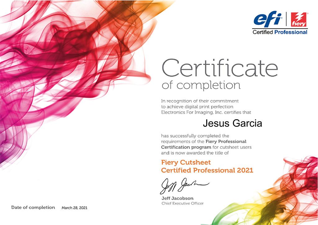 Fiery Cutsheet Certified Professional 2021 Jesús García; jesusgarciaj